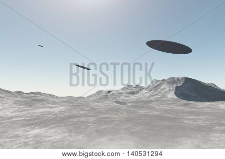 UFO alien spaceships flying over mountains in the daylight. 3D rendering illustration of three unidentified flying objects
