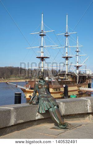 VELIKIY NOVGOROD, RUSSIA - APRIL 13, 2016: The sculpture