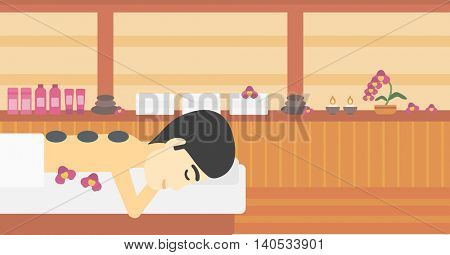 An asian man relaxing while getting stone therapy massage in the spa center. Man having back massage in spa salon. Vector flat design illustration. Horizontal layout.