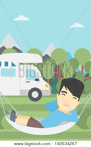 An asian man lying in a hammock in front of motor home. Man resting in hammock and enjoying vacation in camper van. Vector flat design illustration. Vertical layout.