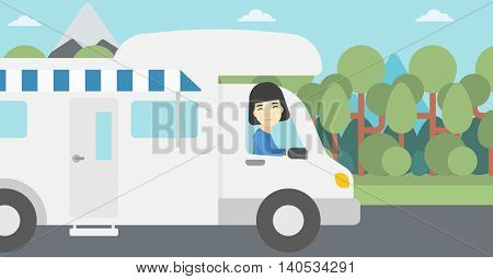 An asian woman driving a motor home in the forest. Woman travelling by camper van. Vector flat design illustration. Horizontal layout.