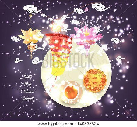 Chinese lotus lantern festival. Mid autumn full moon, cake and tea