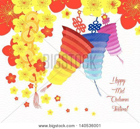 Chinese latern mid autumn festival. Oriental Chinese Background