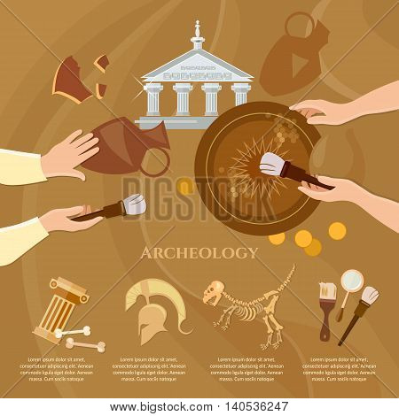 Archaeological excavation achaeologists unearth ancient artifacts ancient history vector illustration