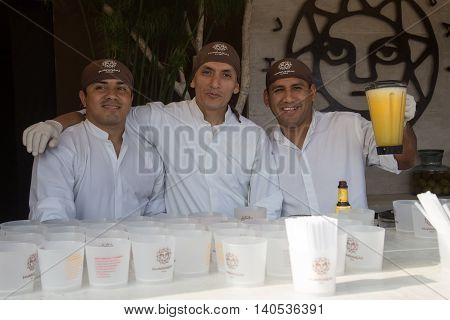 Lima, Peru - September 4, 2015: A group of barkeepers at the annual Mistura Food Festival