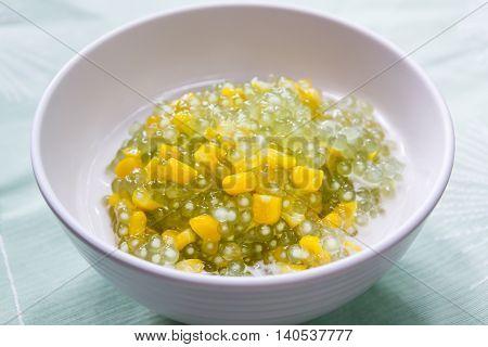 Tapioca Pearl Pudding And Corn In Sweet Coconut Milk.