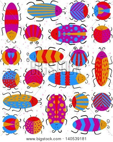 Seamless Pattern With Different Insects