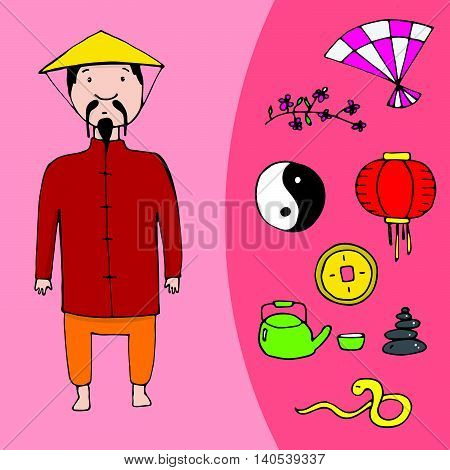 Chinese Man And A Set Of Different Chinese Elements
