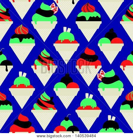 Seamless Pattern With Different Kinds Of Ice Cream