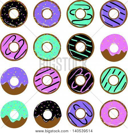 Set Of Different Sweet Donuts