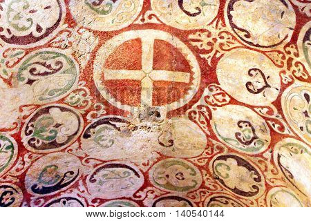 DEMRE, TURKEY - APRIL 28, 2012: Murals on the ceiling of the church of St. Nicholas, Demre, Turkey. The church was built in AD 520 on the foundations of an older Christian church where Saint Nicholas served as a bishop