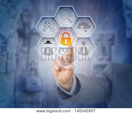 Hand of business man touching closed virtual padlock for fraud prevention. Internet risk and data security concept. Legal metaphor for civil or criminal offense. Locked metal fittings in background.
