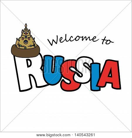 Welcome to Russian and tsar hat. Vector illustration isolated on white background