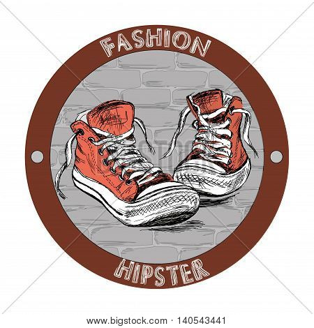 Fashion hipster shoes - sneakers. Hand drawing vector illustration