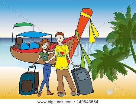 Couple arrived on holiday on the beach, longtail boat on background, vector