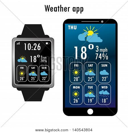 Smartphone and smart watch  with weather app on the screen. Flat design template for mobile apps, Vector illustration