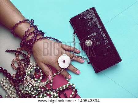 summer Stylish Ladies Accesories. Clutch and Jewelry.