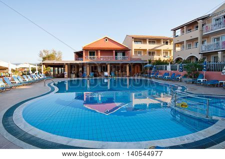 CORFU-AUGUST 26: Exterior of a hotel on Sidary resort is known for its coves of the Canal D'Amou on August 262014 on Corfu island Greece.