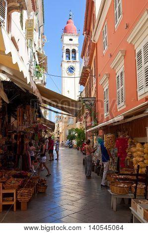 CORFU-AUGUST 24: The Saint Spyridon Church bell tower in Kerkyra on August 242014 on the island of Corfu in Greece. The Saint Spyridon Church is a Greek Orthodox church located in Corfu Greece.