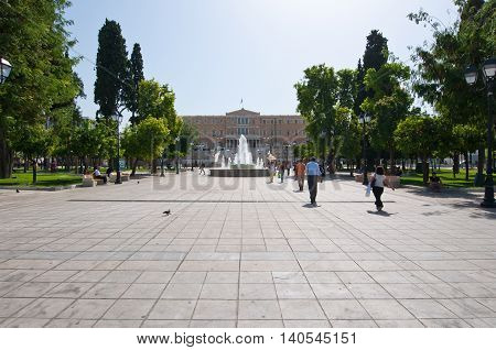 ATHENS-AUGUST 22: Syntagma Square with Greece Parliament building on August 22 2014 in Athens Greece.