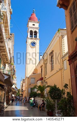 CORFU-AUGUST 24: The Saint Spyridon Church bell tower in Kerkyra ON August 242014 on Corfu island Greece. The Saint Spyridon Church is a Greek Orthodox church located in Corfu Greece.