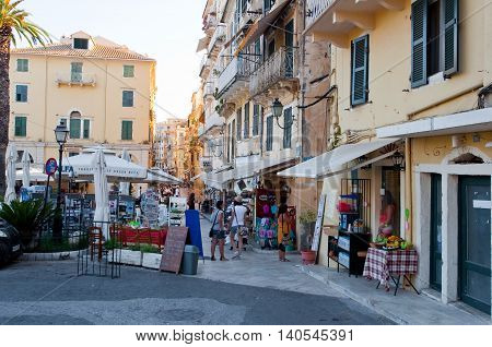 CORFU-AUGUST 22: Kerkyra city with the row of souvenirs shops on August 22 2014 on Corfu island Greece.
