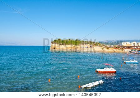 Sidary sandy beach with famous coves of the Canal D'Amou. Corfu island Greece.