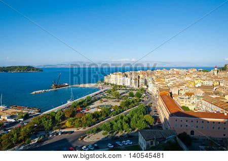 CORFU-AUGUST 22: Aerial view of Corfu city with the Old Fortress on the background from the New Fortress on August 22 2014 on Corfu island Greece.