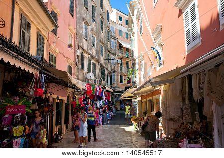 CORFU-AUGUST 24: Shopping street on Corfu island on August 242014 in Kerkyra town Greece. Corfu is a Greek island in the Ionian Sea.