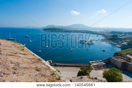 Panorama of Kerkyra harbour from the Old Fortress. Corfu island Greece.