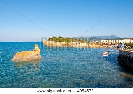 Sidary sandy beach with famous coves of the Canal D'Amou. Corfu Greece.