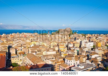 CORFU-AUGUST 22: Panoramic view of Corfu city from the New Fortress on August 22 2014 on Corfu island Greece.
