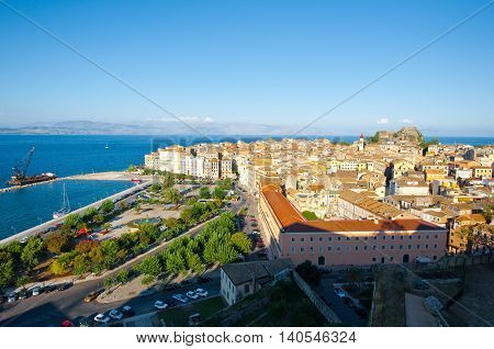 CORFU-AUGUST 22: View of Corfu cityscape from the New Fortress built on the hill of St. Mark on August 22 2014 on Corfu island Greece.