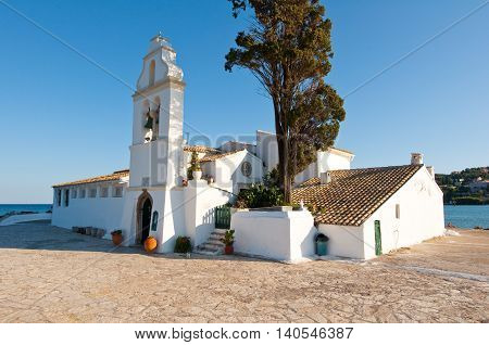 Vlacheraina Orthodox monastery with the bell tower on the island of Corfu Greece.