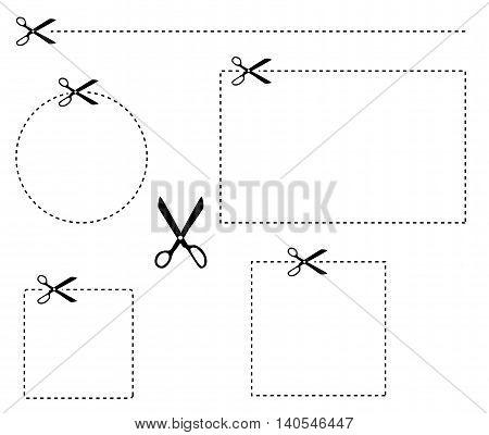 Schere Illustration gestrichelte Linie ausschneiden Vektor freigestellt Verpackung