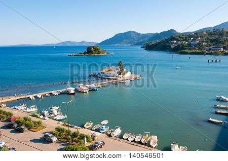 Chalikiopoulou Lagoon as seen from the hilltop of Kanoni on the island of Corfu Greece.