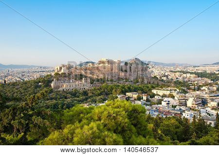 Acropolis of Athens seen from Filopappos Hill. Athens Greece.