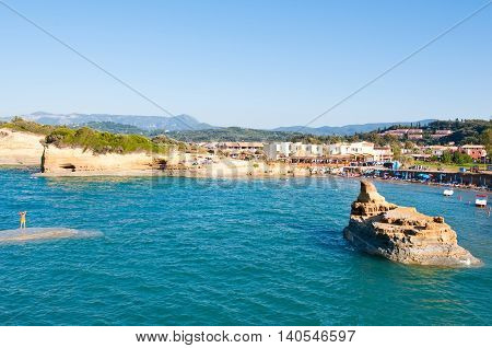 CORFU-AUGUST 26: Sidary resort with famous coves of the Canal D'Amou on August 262014 on the Corfu island Greece.