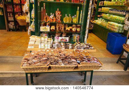 CORFU-AUGUST 22: Traditional Greek goods displayed for sale on Corfu island on August 22 2014 in Kerkyra Greece.