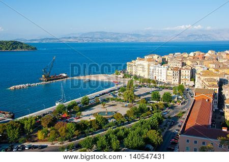 CORFU-AUGUST 22: Panoramic view of Corfu city and the Venetian quarter as seen from the New Fortress on August 22 2014 on Corfu island Greece.
