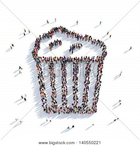 Large and creative group of people gathered together in the shape of a popcorn , cinema . 3D illustration, isolated against a white background. 3D-rendering.