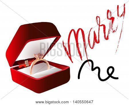 Marry me ring sign icon. Engagement symbol. Marry me lettering. EPS10. Vector illustration