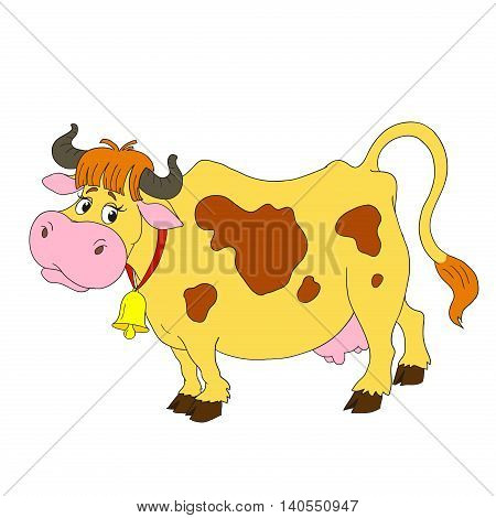 Cartoon characters funny cow. A cow with a bell. Vector isolated.