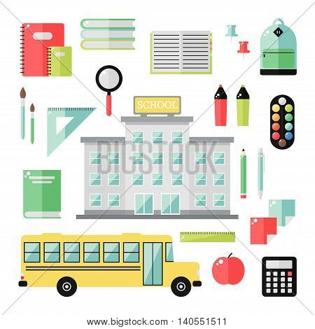School icons on white background. School, bus, books, notepad, pen, pencil, backpack, paint, brush and other supplies. Flat style vector illustration.