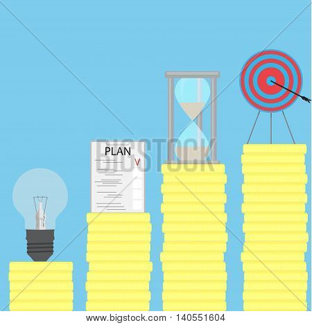 Path to the goal. Step by step. Steps to success and step by step process business goals and achievement to success vector illustration