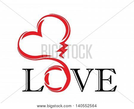 abstract red heart with black letter love. tatoo. vector