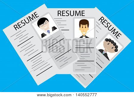 Hiring employee selection.Rrecruitment and job now hiring and job interview vector illustration