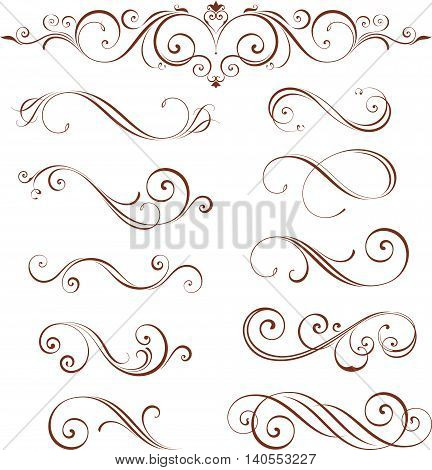Vector swirl ornate motifs. Elements can be ungrouped for easy editing.