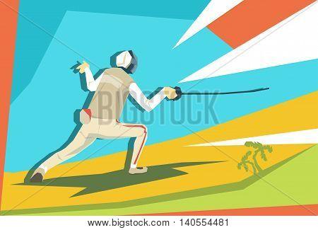 Fencing Athlete Fencer Sport Competition Flat Vector Illustration