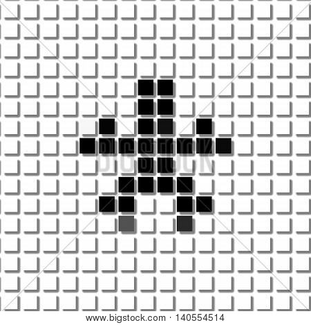 Asterisk. Simple Geometric Pattern Of Black Squares In Asterisk